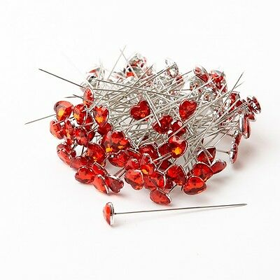 Diamond Heart Pins - Red - 60 x 10mm - 100 Pins smithers oasis weddings bridal