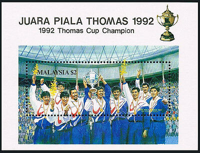 Malaysia 459 S/S, MNH. Thomas Cup Champions in Badminton, 1992