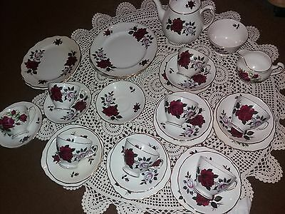 Colclough  red and white rose pattern tea set 32 piece Excellent condition!!!