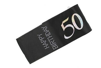 50 and Frisky Black Happy Birthday Diamante Sash Perfect Night Out Accessory
