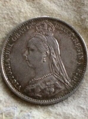 Great Britain 6 Pence 1887 Silver Extra Fine  EF