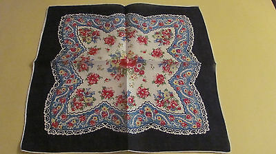 Vintage Navy Pink Red Spring Floral Bouquets Paisley Linen Hankie Hand Rolled