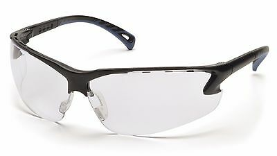 Pyramex Venture 3 Safety Glasses, Black Frame, Lens; Clear Grey Blue Amber I/O