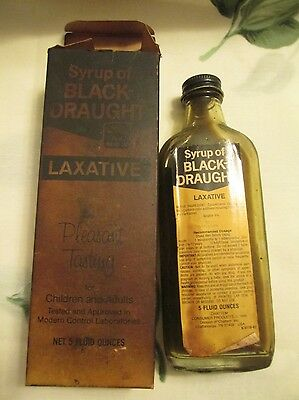 Vintage Syrup of Black Draught Box and Bottle partially full