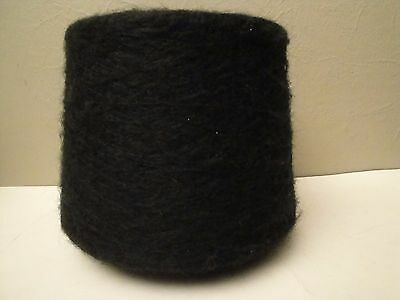 VTG IGEA/ANTARES SPUN WOOL/MOHAIR BLACK YARN ON CONE Made in Italy