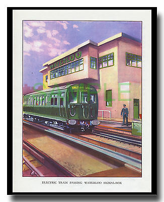 4SUB class EMU at Waterloo electric train framed picture R M Clark