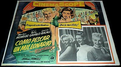 1953 How to Marry a Millionaire VINTAGE MEXICAN LOBBY CARD Marlyn Monroe B