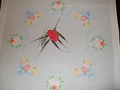 Vintage Easter Hand  Embroidered decorative Tablecloth table runner Eggs-2PCS