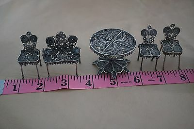 Sterling Silver Vintage Lot of Filigree miniature table and Chairs