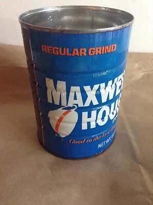 Vintage MAXWELL HOUSE COFFEE Regular Grind 16 Oz Can Tin Good To The Last Drop