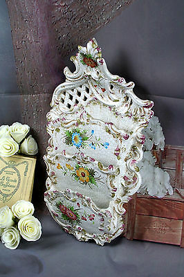 French vintage Majolica Biscuit Craquele Wall Antique Letter holder Flowers