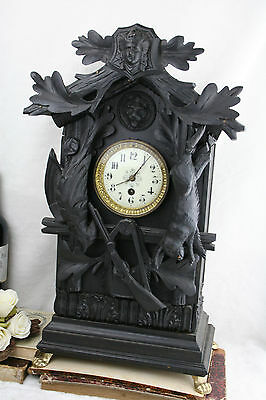 rare Antique swiss 1930 Wood carved black forest hunting trophy mantel clock
