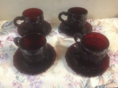 Avon 1876 Red Ruby Cape Cod Pattern Glass 8pcs ( 4 Cups - 4 Saucer Plates) EUC