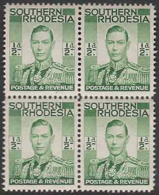 Block of 4 1/2d GVI stamps SG40 Southern Rhodesia  mnh