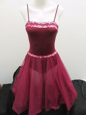 Dance Costume Small Adult Burgandy Pink Sequin Dress Ballet Solo Competition