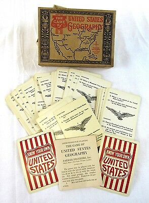 Game of United States Geography Vintage Parker Brothers Set with Instructions