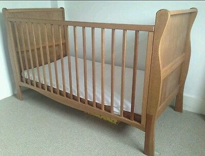Used Solid pine Wooden Baby Cot bed Sleigh Cotbed