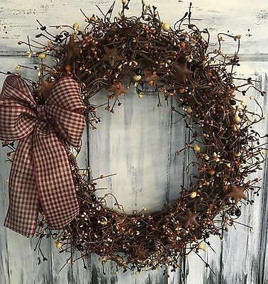 """18"""" Primitive Country Grapevine Wreath Or Centerpiece W/pip Berries & Stars"""
