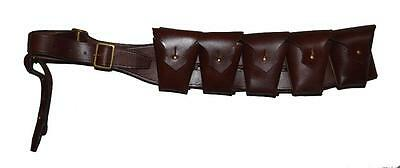 Leather Military Light Horse Leather Bandolier Ammo Belt - Brown