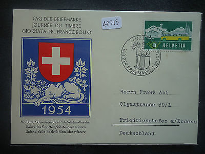 Switzerland Maximum Card 1954 Stamp Day (SG 547) Luzenn SHS