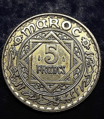 1945  AH 1365 Morocco  French 5 Francs Large Coin Y#43   Maroc