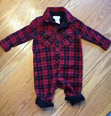 Baby Boy Polo Ralph Lauren Red & Black Buffalo Plaid One Piece Outfit 3 Months