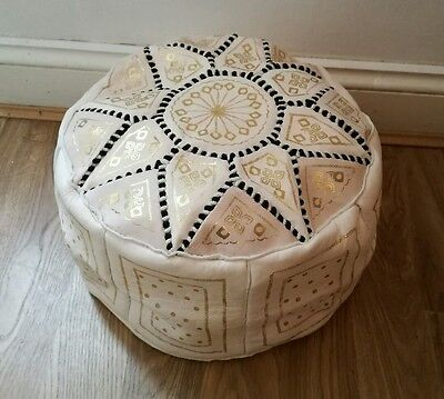Moroccan Genuine Leather Pouffe Poufe Footstool New Handmade New Pouf
