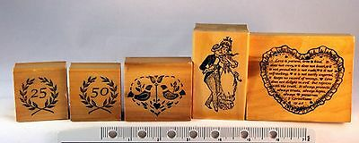Love/ Wedding Rubber/Wooden Stamp Lot (5 Stamps)