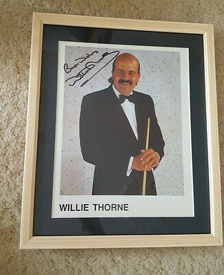 Willie Thorne framed and hand signed photo. Snooker