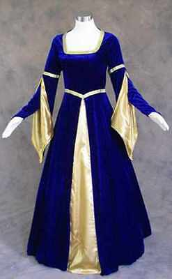 Blue Velvet Medieval Renaissance Cosplay Wench Pirate LARP Dress Costume Gown S