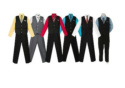 Boys Pinstripe Vest Suit w/ Colored Shirt & Tie, Sizes 2T - 20, Kids Formal Wear