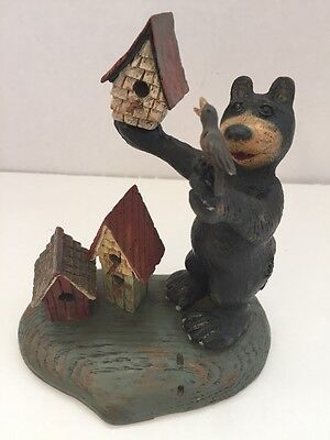 American Chestnut Folk Art Bear Bird House AM1109 Welcome Open House
