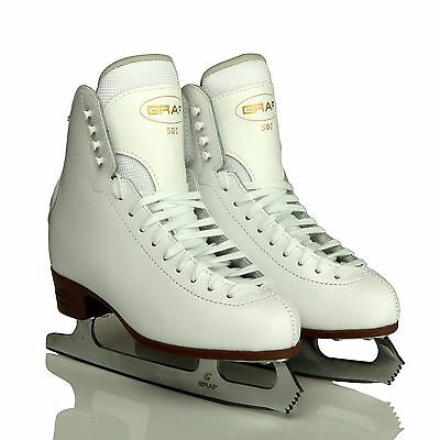 Graf 500 Junior Figure Skates White COMPLETE WITH BLADES - Free Postage
