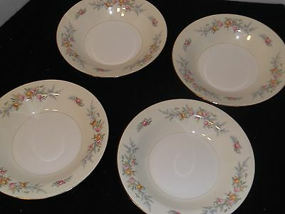 4 Homer Laughlin Eggshell Nautilus Ferndale Soup Bowls China, Pristine!!!