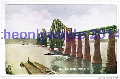 Forth Bridge  from South, Scotland, 1920s?, Postcard