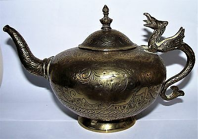 Vintage Heavy Indian Brass Teapot with Dragon Handle