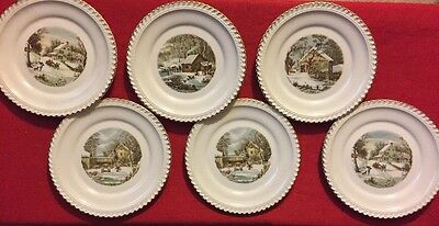 6 Currier and Ives Plates 6 In. Currier and Ives Lot Winter Pictures Harkerware