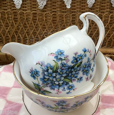 ROYAL VALE 1960s BONE CHINA MILK JUG & BOWL SET 7911 FORGET ME NOTS BLUE FLORAL