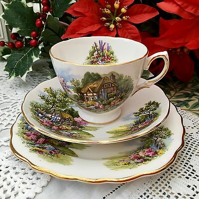 ROYAL VALE BONE CHINA 1960s TRIO CUP SAUCER PLATE SET - THATCHED COTTAGE GARDEN