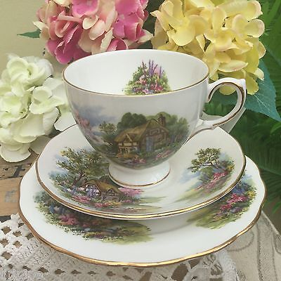 ROYAL VALE BONE CHINA 1960s TRIO CUP SAUCER ROUND PLATE THATCHED COTTAGE GARDEN