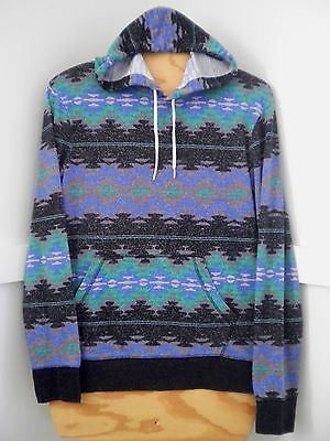 Womens Multi-Color SW Pattern Long Sleeve Pull-Over Hoodie Sz.M By On The Byas