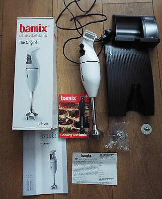 Bamix Classic Hand Blender White EO16 & 3 Blade Attachments & black stand NEW