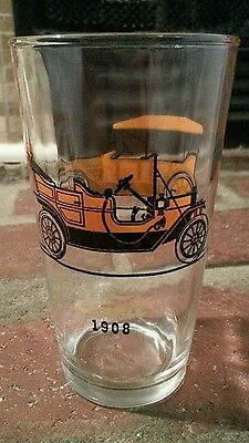 FORD 1908 CHEVROLET 1913 DRINKING GLASS Vintage Antique Autos Cars Tumbler Cup