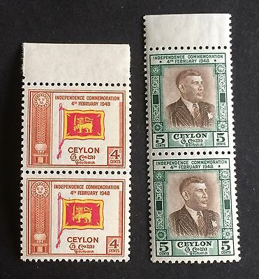 2x2 wonderful mint border piece stamps 4 and 5 Cents Ceylon 1949