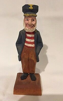 Vintage Wooden Folk Art Hand Carved Sailor Nautical Figure By Hannah in Canada