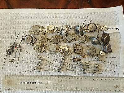 20 x GERMANIUM PNP POWER TRANSISTORS TESTED + silicon diodes + other parts
