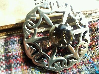 Malcolm Gray Scottish Celtic Silver Smokey Quartz Brooch
