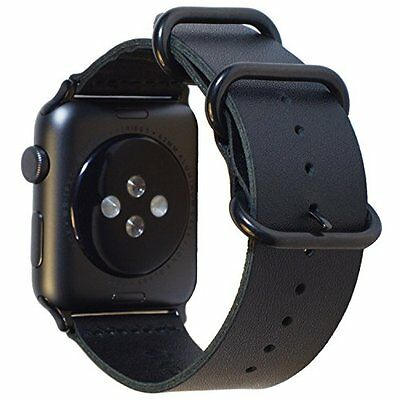 Apple Watch Band 42mm Black Leather Replacement Strap Premium Classic Buckle New