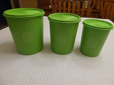 Vintage Retro Tupperware 3 Nesting Canister Set Apple Lime Green Classic
