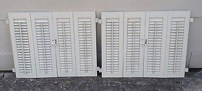 "25.25"" T X 31.25"" W VTG Colonial Wood Interior Louver Plantation Window Shutters"
